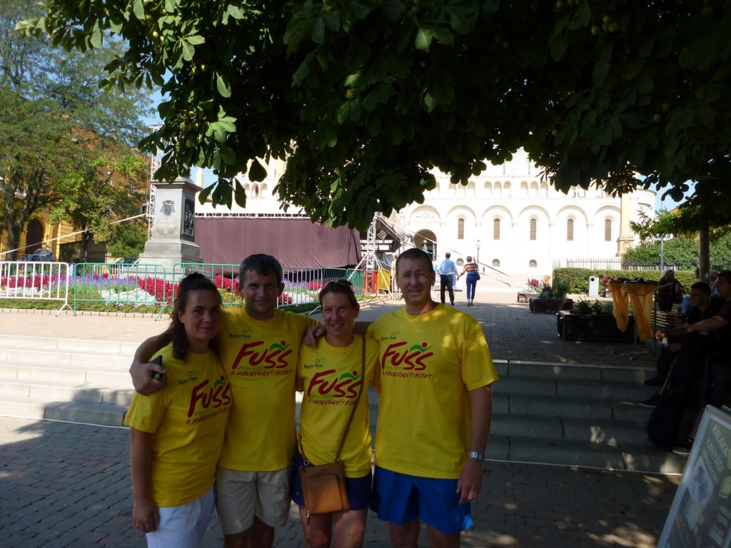 Marian, Szabolcs, me and Bob after a Charity 3K run our first weekend in Pecs. The run was sponsored by Magyar Posta, the Hungarian Postal Service and benefited cancer research.